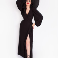 IN-STOCK - Black Widow SOLID Wrap Gown