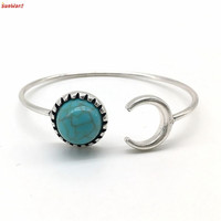 the most Bohemian Silver Alloy Moon Shape Turquoise Ethnic Boho Gypsy Cuff Bangles