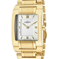 JACQUES LEMANS Women's White Dial Gold Plated 10 Mic Stainless SteelJACQUES LEMANS GU117F Watch
