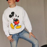 HAUTE SUMMER SALE 1980's Disney Mickey Mouse, White Sweat Shirt by Disney Designs size Large
