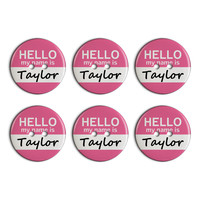 Taylor Hello My Name Is Plastic Resin Button Set of 6