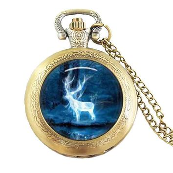 Adjustable pocket watch 1pcs/lot Hogwarts crest vintage death hallows steampunk style womens mens antique deer magic star galaxy
