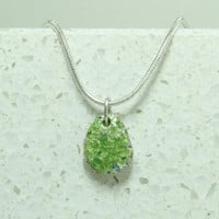 Tiny silver pebble pendant Silver and green and blue minimalist jewelry