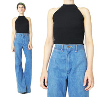 1990s High Neck Black Top Simple Stretchy Black Crop Top Mock Neck Turtleneck Tank Sexy Modern Womens Black Cut Out Tank Top (XS/S)