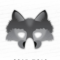 Printable Halloween Mask, Paper Mask, Gray Wolf Printable Mask, Grey, Big Bad Wolf, Direwolf, Dire Wolf Mask, Photo Booth Prop, Fairy Tale