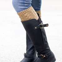 Tan Cable Knit Boot Cuffs