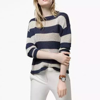 Striped Knit Pullover Long Sleeve Sweater