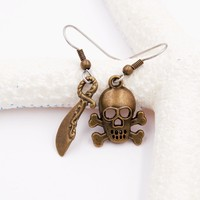 Pirate Earrings with Skull & Crossbones and Cutlass Sword Charms (Bronze Tone, Mismatched, Dangle)