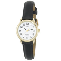 Timex T2H341 Women's Easy Reader White Dial Black Leather Strap Gold Tone Stainless Steel Watch