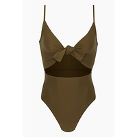 Elora Front Cut Out One Piece Swimsuit - Olive Green