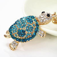 Fashion blue turtle Keychains animal car keyring rhinestone purse handbag Charm cute gift = 1945767492