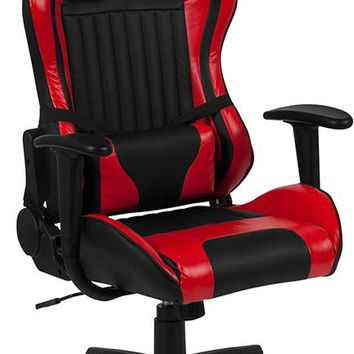 Cumberland Comfort Series High Back Black & Red Reclining Racing/Gaming Office Chair with Adjustable Lumbar Support [CH-CX1063H-RD-GG]