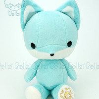 "Bellzi® Cute Fox Plush Stuffed Animal Toy ""Teal"" w/ White Contrast Fox Plushie - Foxxi - Made in USA"