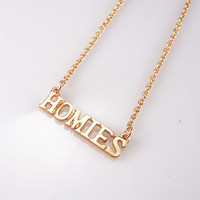 HOMIES Necklace,Mini Homies Necklace, Gold Fine Chain Necklace, Bridesmaids Jewelry, Friendship, Graduation Birthday Gift