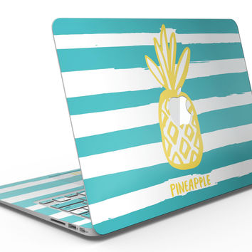 Striped Mint and Gold Pineapple - MacBook Air Skin Kit