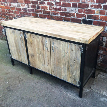 Reclaimed Industrial Chic Sideboard Dresser Wood & Metal Bar cafe Resturant Tables Steel and Wood Metal Hand Made table,office