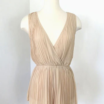 Pleated Nude Romper