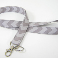 Fabric Lanyard - ID Badge and Key Ring - Riley Blake Chevron Small Grey on Grey Lanyard with Optional Breakaway Clasp
