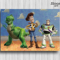 toy story print woody buzz lightyear rex poster toy story room disney painting