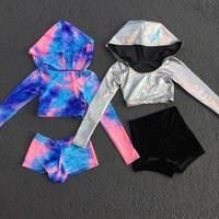 Cotton Candy Long Sleeve Hooded Crop Top