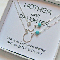 Mother and Daughter Necklaces, 925 Sterling Silver, Wire Hammered Horseshoe Necklace, Matching Necklace, Mother's Day Gift, Lucky Charm