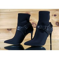 """CR Raider Black Pull On Stretch Pointy Toe Harness Ankle Boot 4"""" High Heels"""