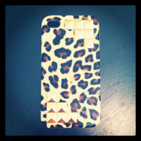 Gold Studded Cheetah Hard Case IPhone 4 4S by LivingYoungDesigns