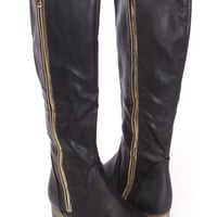 Black Knee High Riding Boots Faux Leather