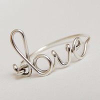 sterling silver love ring-  love script ring- Special price sterling silver wire