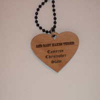 Personalized mothers pendant wood engraved necklace