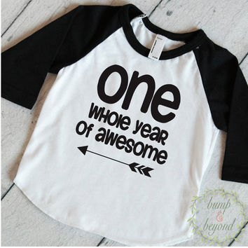 First Birthday Shirt Boy 1st Birthday  Outfit First Birthday Boy Shirt Boy First Birthday Outfit One Whole Year Of Awesome Birthday Boy 157