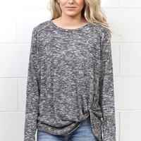 Get Twisted Marled Long Sleeve Knit {Charcoal}