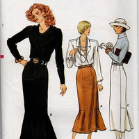 80s Retro Vogue Sewing Pattern Fishtail Kick Pleat Skirt Flared Hem Fitted Straight Skirt Uncut FF SIze 12 to 16 Vintage Style