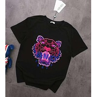 KENZO Summer Trending  Women Men Stylish Tiger Head Embroidery T-Shirt Top Black