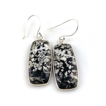 Chrysanthemum Sterling Silver Oblong Earrings