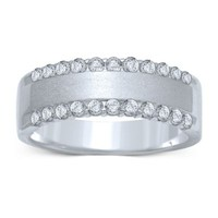 14K White Gold .50 cttw Diamond-Edged Ladies' Wedding Band