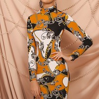 2020 New Women Fashion Print Round Neck Long Sleeve Casual Dress
