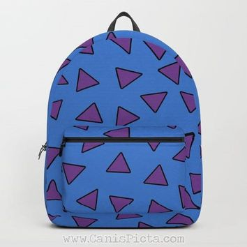 Rocko's Modern Life BACKPACK Pattern Back to School Pack Vintage Retro 90s Baby Kids Trendy Fun Blue Purple Triangle Shapes Wombat Nostalgia