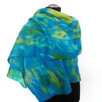 Cobweb Felted scarf ,hand  felted scarf , wool scarf,  merino wool scarf,turquoise,green , OOAK scarf, one of the kind, unique scarf ,