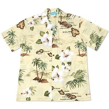 voyage yellow hawaiian cotton shirt