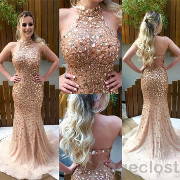 2017 Luxury Champagne Mermaid Prom Dresses Long Halter Backless Crystal Beaded Tulle Vestidos De Festa Evening Party Gowns