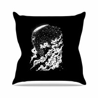 "BarmalisiRTB ""Alien Light"" Black White Throw Pillow"