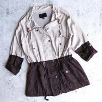 lightweigth linen color block jacket - khaki/cacao