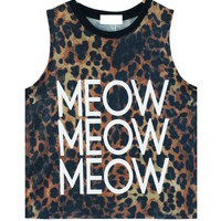 Meow Graphic Print Leopard Muscle Tee