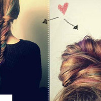 Lauren Conrad inspired RAINBOW pieces for fishtail braiding / pastel dip dye ombre hair extensions/ (12) i tips/  FREE PEOPLE style