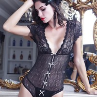 Hot Deal On Sale Cute Luxury Lace Sexy See Through Exotic Lingerie [6596065603]
