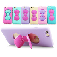 Case For iPhone 6 6S For iPhone 6 Plus/ 6S Plus Fashion 3D Cartoon Butterfly Bow Silicone TPU Cases Fashion Stand Holder Cover