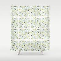 "Shower Curtain - Floral Pattern - 71"" by 74"" Home, Decor, Bathroom, Bath, Dorm, Girl, Boho, Floral, Designer, Hippie, Abstract, White"