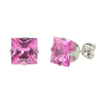 Silver Pink Studs Tourmaline Square CZ October Birthstone Prong Earrings .925