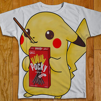 Pikachu Pocky Sticks Tshirt Two Sided Clothing Pikachu tshirt Pikachu shirt Pikachu clothing Pikachu sticker Pikachu hat pokemon tshirt
